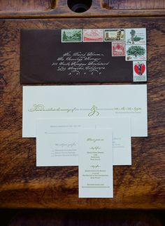 Simple wedding invitations with fun stamps for this school themed Napa wedding. Photo: Meg Smith