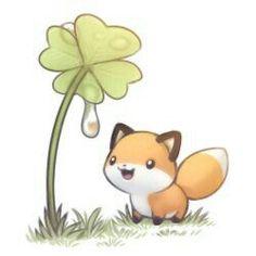 Ideas for drawing cute fox Kawaii Chibi, Cute Chibi, Kawaii Art, Cute Animal Drawings, Kawaii Drawings, Cute Drawings, Chibi Manga, Art And Illustration, Illustrations