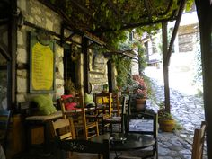 Traditional coffee house, Palios Panteleimonas, Pieria, Greece.
