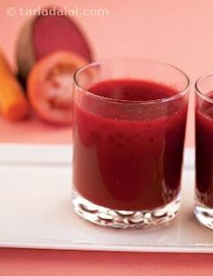 This low-calorie combination of easily available carrot, tomato and beetroot provides large doses of fibre and vitamin a, and is a perfect way to kick start the day! the lovely colour makes it especially appealing to kids.