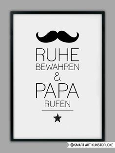 """Originaldruck - """"PAPA RUFEN"""" Druck, Geschenk, Vater - ein Designerstück von Smart-Art-Kunstdrucke bei DaWanda"""