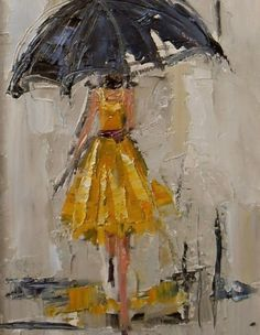 'Dancing in the Rain 1' by Kathryn Trotter -- I would design a whole room around this painting.