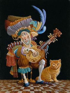 James Christensen - Serenade for an orange cat.