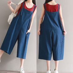Ladies Denim Strap Jeans Harem Baggy Wide Leg Cropped Pants Dungarees Rompers