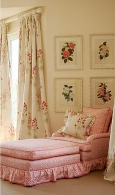 my little English grandma decorated her bedroom like this in florals...she had a chair instead of the chaise in soft pink - I love the idea of the chaise...great place to read or take a nap...