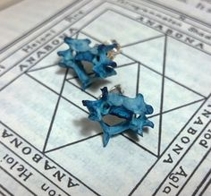 Voodoo Earring studs Real Bone by Chris Richford Black Ooak blue magic jewelry bone earrings wiccan earring pagan earrings occult earrings