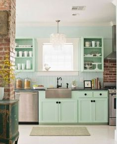 Kitchen - inspired by beach house decor seafoam green silver grey.jpg  Kitchen shelves