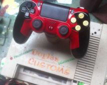 Deadpool themed custom ps4 controller with bullet buttons