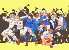 Hetalia world cup. France what are you doing...Romano stop trying to make Spain deaf....