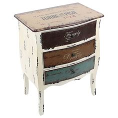 Wooden commode in white/ multi color with pu leather 'dream'