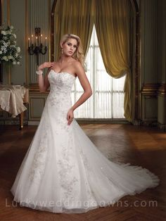 Strapless Tulle and Lace A-line Wedding Gown with Lace-up Back