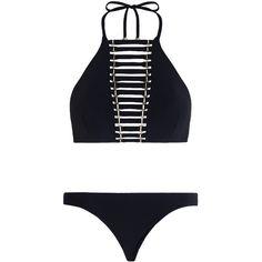 ZIMMERMANN Harlequin Harness Bikini (€250) ❤ liked on Polyvore featuring swimwear, bikinis, swim swimwear, halter bikini, swim wear, halterneck bikini and summer bikini