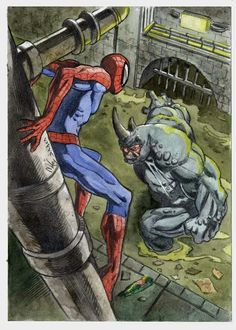 Spidey vs. Rhino by Vincenzo Cucca