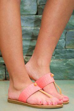 Knot So Fast Coral Flat Sandals at reddressboutique.com