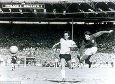 England's Geoff Hurst completes his hat trick against West Germany in the 1966 World Cup final, which England won It was also the last time England appeared in a World Cup final. England National Football Team, England Football, National Football Teams, 1966 World Cup Final, Geoff Hurst, World Cup Trophy, England Players, England International, Retro Football