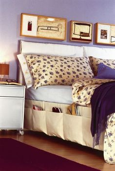 What a creative idea! A bed skirt which offers storage pockets. I am making this.