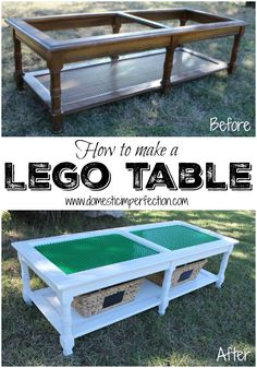 How to turn an old coffee table (or anything, really) into a Lego table. Tutorial includes an easy method for cutting Lego baseplates!