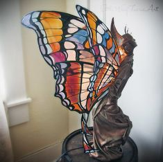 Silk Flower and Faerie Lights — Little Wing Faerie Art Butterfly Lamp, Flower Lamp, Stained Glass Lamps, Mosaic Glass, Polymer Clay Fairy, Fairy Lamp, Fairy Garden Houses, Cool Lamps, Silk Flower Arrangements