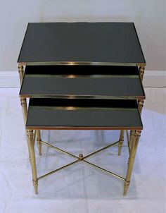Trio French Bagues Style Brass Nesting Tables image 3