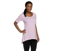 LOGO by Lori Goldstein Cotton Slub Top with Sequin Embellishment