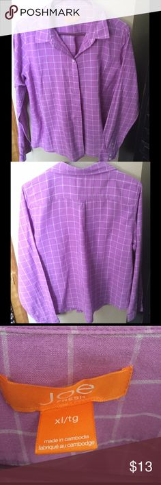 Juniors Joe fresh plaid shirt Pink/purple shirt is in great condition Joe Fresh Tops Button Down Shirts