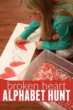 Broken Heart Alphabet Hunt! A perfect activity for preschoolers this Valentine's Day!