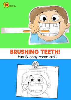 Child Brushing Teeth Printable Craft - Simple and fun activities for kids - Kindergarten Art Activities, Physical Activities For Kids, Preschool Art, Preschool Curriculum, Infant Activities, Art For Kids, Crafts For Kids, Craft Kids, Material Didático