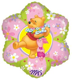 """So �beary� cute!  This Pooh Friendly Flower 18"""" Foil Shaped Balloon features Winnie the Pooh and his little pal, Piglet, and is covered in cheerful flowers!  This is the perfect party accessory for your Winnie the Pooh themed party!  This delightful balloon coordinates with our Winnie the Pooh birthday themes and can also be incorporated into the d�cor for a Winnie the Pooh baby shower.  Sure to delight guests both young and old � who can resist the cuddly, lovable Winnie the Pooh"""