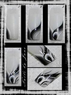 By Jane: Black Grey White Nail art