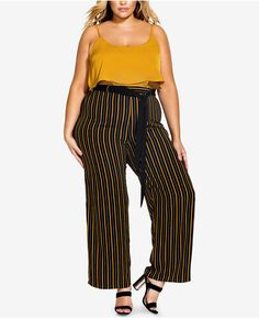 8c1722014ca City Chic Trendy Plus Size Striped Palazzo Pants