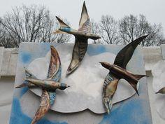 Mauersegler Edelstahl geflammt, ca. 45x25 cm 3x mit Wolke Alu. von art-lomo.de