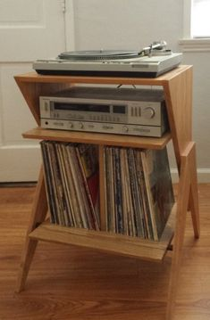 Solid Ash Atomic Record Player Stand – Vinyl / LP Storage Cabinet – Best Audio Room Ideas, Tips and Images Record Shelf, Vinyl Record Storage, Lp Storage, Storage Ideas, Record Player Stand, Retro Record Player, Lp Player, Record Players, Wood Joinery