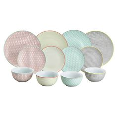 Buy Argos Home Tilda 12 Piece Dinner Set - Multicoloured at Argos. Thousands of products for same day delivery or fast store collection. Dinner Sets Uk, Hippie Kitchen, Sainsburys Home, Office Set, Kitchen Equipment, Extendable Dining Table, Rustic Feel, Argos, Argo