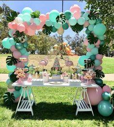 Flamingo Birthday Party Ideas Loving this Flamingo dessert table! The balloon garland is amazing!