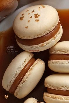 SugaryWinzy Salted Caramel Macarons Desserts by Macaron Dessert, Macaron Filling, Macaron Flavors, Best Macaron Recipe, French Macaroon Recipes, French Macaroons, How To Make Macaroons, Making Macarons, No Bake Desserts