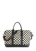 A bad case of wanderlust is even more fun carrying this ivory canvas weekend bag with black polka dots!