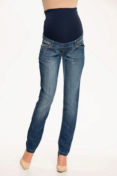 Těhotenské modré rifle s pasem a kapsami Jeans, Fashion, Moda, Fashion Styles, Fashion Illustrations, Denim, Denim Pants, Denim Jeans