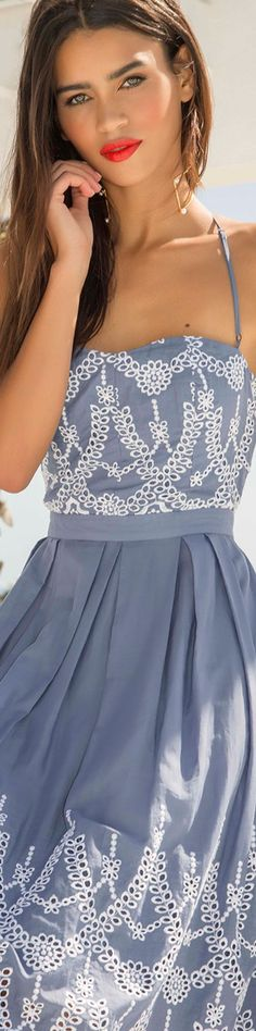 Kendall + Kylie Halter-Neck Eyelet Dress |  LOLO❤︎