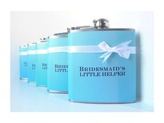 Bridesmaid Gift, Maid of Honor Gift, Wedding Party Flask, Bridesmaids Gifts, Bachelorette Party Gift, Bridal Shower Gift, Tiffany Blue on Etsy, $25.00