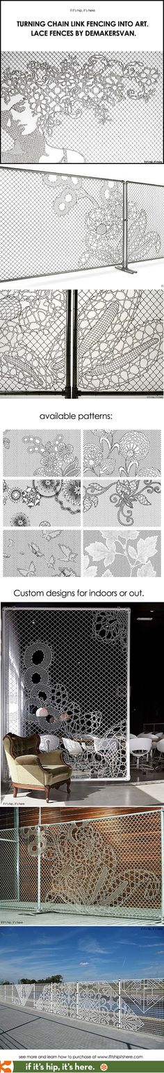 Why get a plain chainlink fence when you can have one of these? Lace Fences by Demakersvan at http://www.ifitshipitshere.com/turning-chain-link-fencing-into-art-lace-fences-by-demakersvan/