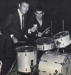 Adam West and Leonard Nimoy (Batman and Spock!) playing the drums together, circa late 1960s.