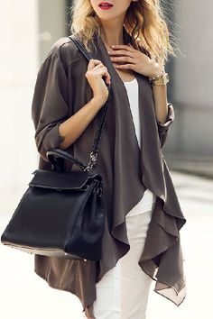 Looks I LOVE! Loose Fitting Long Sleeves Solid Color Cardigan #Easy #Outfit #Ideas