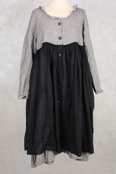 Edeline Dress with Contrasting Skirt in Black Gingham - Les Ours