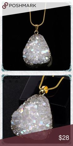 """✨Angel Aura Quartz Crystal Gemstone Necklace ✨Angel Aura Quartz Crystal Gemstone Necklace                                                                 🔸very sparkly and beautiful                                 🔸24k gold dipped matching 18"""" snake chain                                                        🔸photo just does not capture this beauty           🔸measures about 2"""" top to bottom and has a lot of dimension Just be Boutique Jewelry Necklaces"""