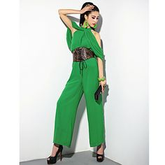 GMFI Women's Casual Halterneck Jumpsuit(Green) – USD $ 24.99