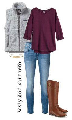 """fall outfit"" by sassy-and-southern ❤ liked on Polyvore featuring moda, Patagonia, rag & bone/JEAN, H&M, Tory Burch e Stella & Dot"