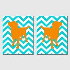 Modern Chevron Labrador Puppy Dog Duo  Set of Two 8x10 by Tessyla, $39.50