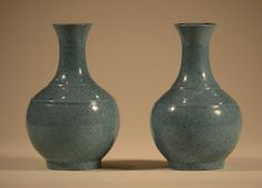 "Pair Chinese Robins Egg Blue Porcelain Vases each long neck Tian chung form, with a ridge on the shoulder, 19th cen, measures 5.3""h"