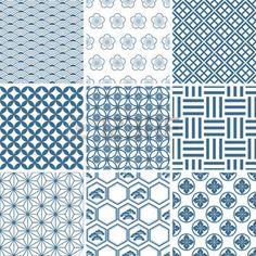 japanese pattern: Japanische traditionelle Muster Satz. Abbildung  Illustration