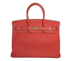Hermes Sanguine Clemence Leather 35cm Birkin Bag with Gold Hardware